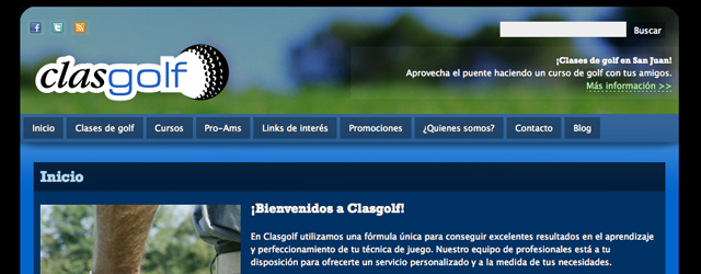 Diseo y programacin de www.clasgolf.com y www.clasesdegolfbarcelona.com